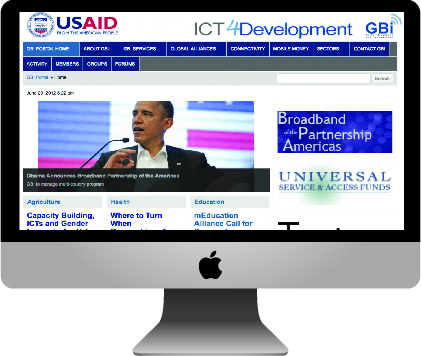 iMac with homepage of GBI portal
